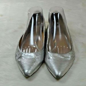 Coach Trissa Silver Snake Leather Pointed Toe Flat